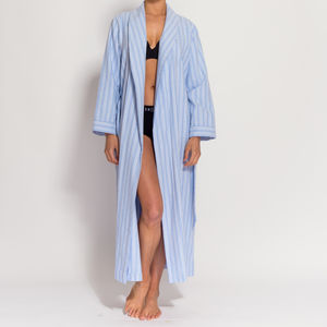 Women's Blue And White Striped Two Fold Flannel Robe