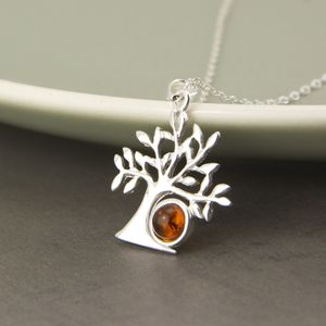 Sterling Silver Amber Tree Of Life Necklace - necklaces & pendants