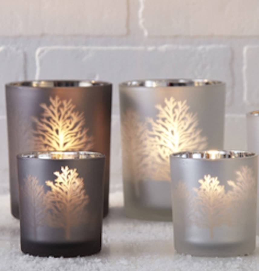 Frosted Glass Tree Silhouette Candle Holder By Ella James