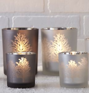 Frosted Glass Tree Silhouette Candle Holder