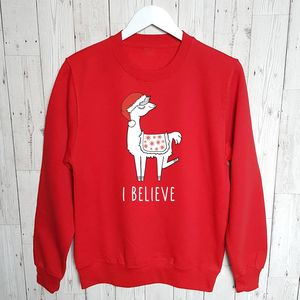 Llama I Believe Family Christmas Jumper
