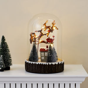 Glass Dome With Santa And Sleigh - christmas home accessories