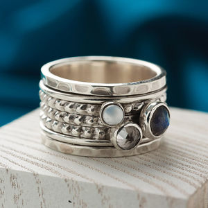 Chunky Gemstone Silver Spinning Ring - rings