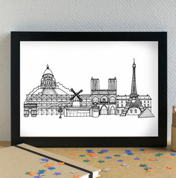 Paris Skyline Cityscape Art Print