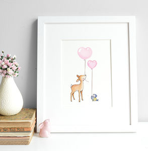 Personalised Deer And Bluebird Bestfriends Print