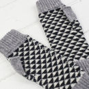 Triangle knitted fingerless mitts in monochrome