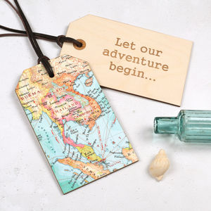 Personalised Map Location Keepsake Luggage Tag Gift