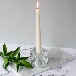 Glass Cube Candle Holder With Conical Cut Outs