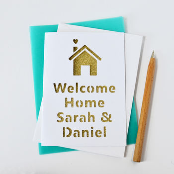 White personalised new home card with gold glitter