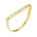 Geometric Gold Bangle Green Amethyst