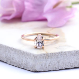 Achillies 9ct Rose Gold Pear Morganite Boho Ring - rings