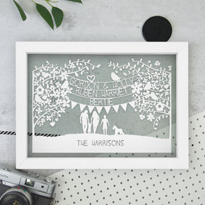 Personalised Family/Couples Papercut - mixed media & collage