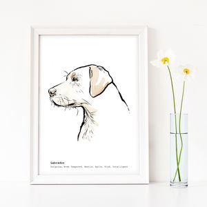 Personalised Labrador Print, Yellow, Chocolate Or Black - art
