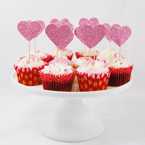 Set Of 12 Large Glitter Heart Cupcake Toppers - baking