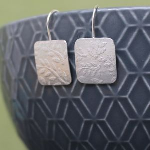 Sterling Silver Watercolour Leaf Tag Drop Earrings