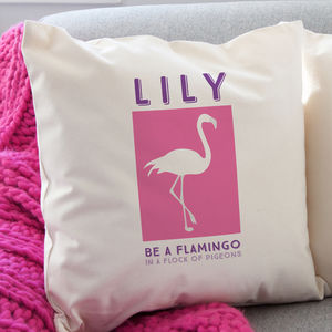 Personalised Flamingo Cushion - summer home