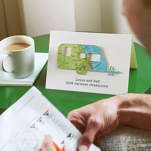Personalised Map Location Caravan Father's Day Card