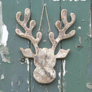 Birch Bark Hanging Moose Head - winter sale
