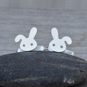 Bunny Rabbit Cufflinks In Sterling Silver - cufflinks