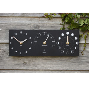 Eco Recycled Moon Phase, Outdoor Clock And Thermometer - clocks