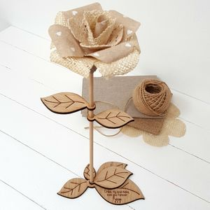 Large Personalised Linen And Wood Anniversary Rose - artificial flowers