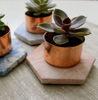 Copper Concrete Marble Succulent Planter