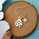 Ladybird And Initial Star Necklace