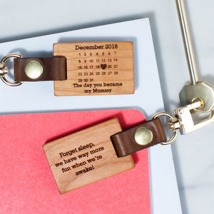 Personalised 'The Day You Became My…' Key Ring - 5th anniversary: wood