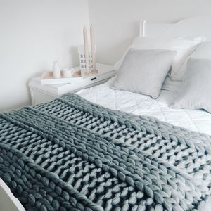 Giant Hand Knitted Super Chunky Blanket - bedroom