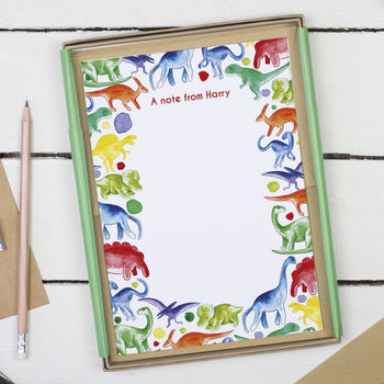 Personalised Dinosaur Children 39 S Writing Set By Alexia