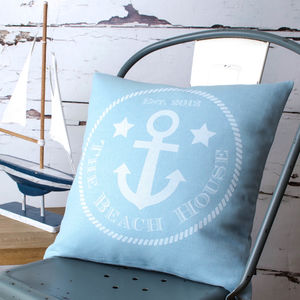 'Beach House' Personalised Cushion Cover