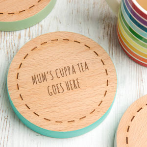 Personalised Mothers Day Coloured Edge Coaster - tableware