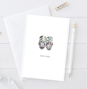 Personalised New Baby Tiny Shoes Greeting Card - christening cards