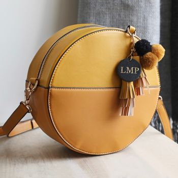 Personalised Mustard Shoulder Bag With Pompom Tassels