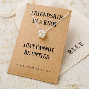 Friendship Knot Silver Necklace - gifts for her