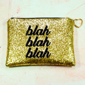 Blah Blah Blah Clutch Gold With Black Slogan
