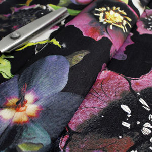 Midnight Floral Botanical Print Fabric - throws, blankets & fabric