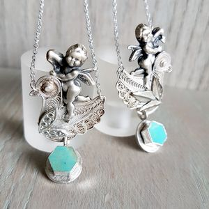 Silver Cherub And Bird Turquoise Necklace - necklaces & pendants