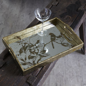 Mirrored Tray With Etched Birds - 50th birthday gifts