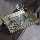Mirrored Tray With Etched Birds