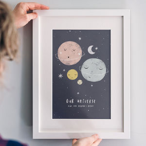 Personalised 'Our Universe' Family Planet Print - gifts for babies