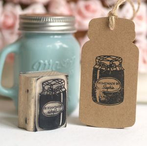 Personalised Jar Rubber Stamp 'Homemade By'
