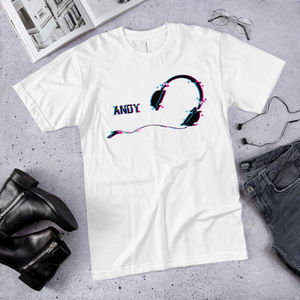 Music Headphones Vegan Organic Glitch Art T Shirt