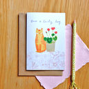 Cat With Geraniums Card