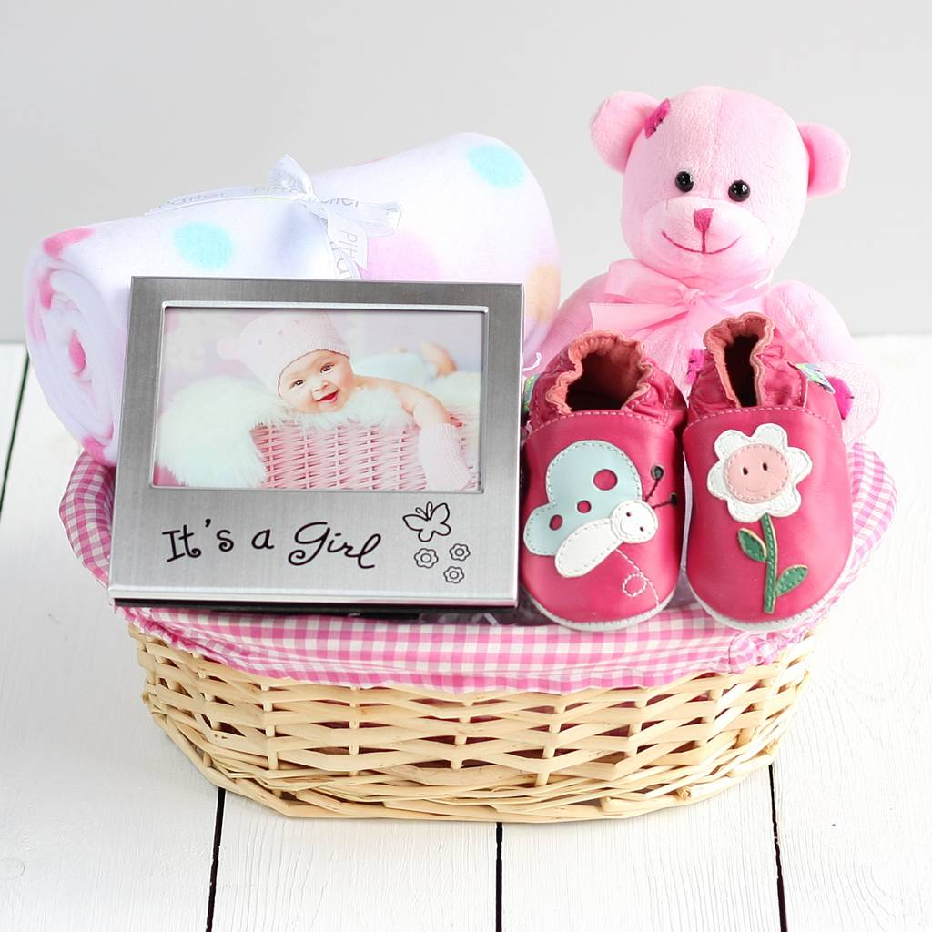 Beautiful girl new baby gift basket by snuggle feet beautiful girl new baby gift basket negle Choice Image