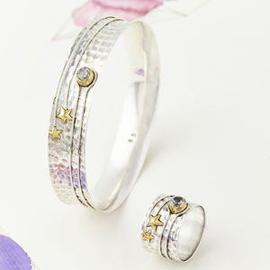 Celestial Moon Ring And Bangle Set