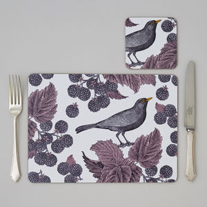 Blackbird And Bramble Placemat Set Of Four