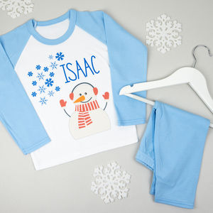 Personalised Christmas Snowman Pyjamas - children's christmas clothing
