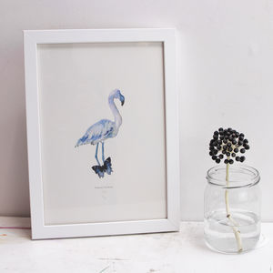 Blue Flamingo Giclée Print - limited edition art
