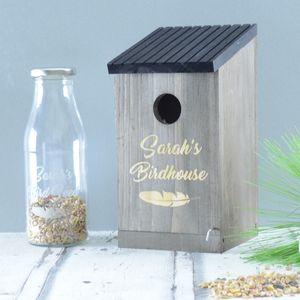 Personalised Bird House And Seed Bottle - gifts for mothers